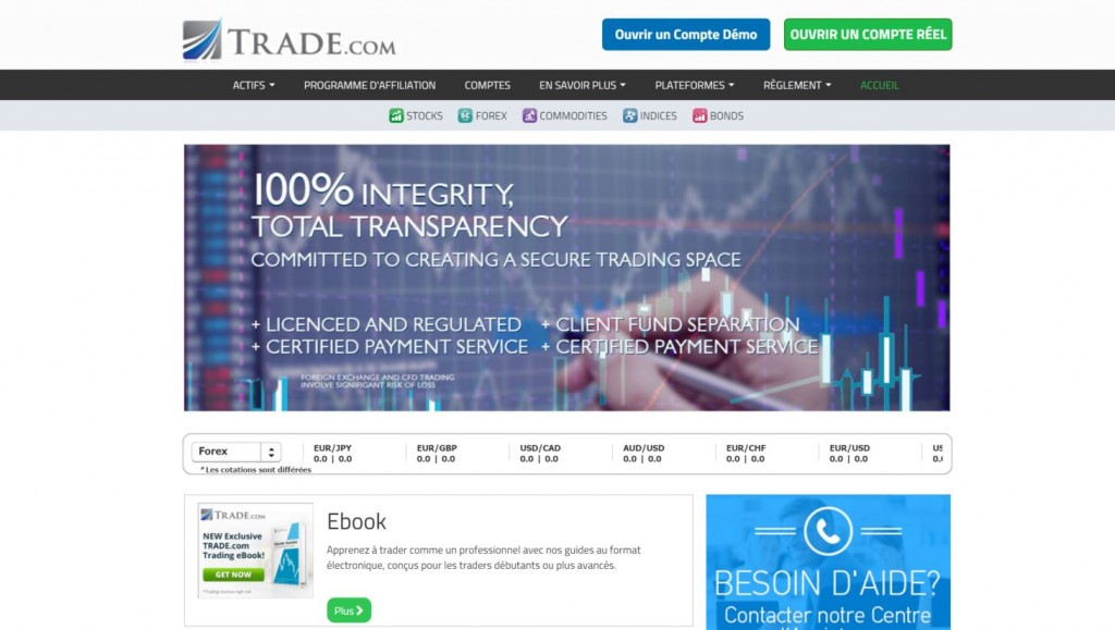 trade.com page d'accueil